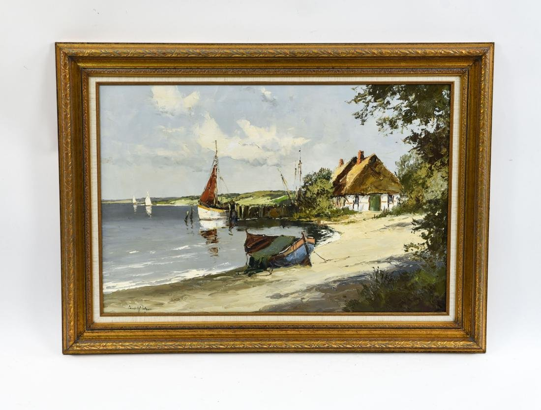 MODERN LANDSCAPE PAINTING WITH SAILBOATS
