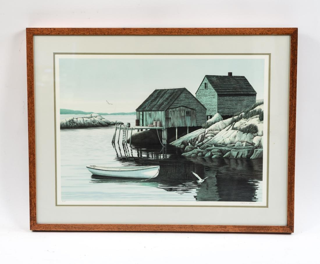HELEN RUNDELL LITHOGRAPH OF BOAT