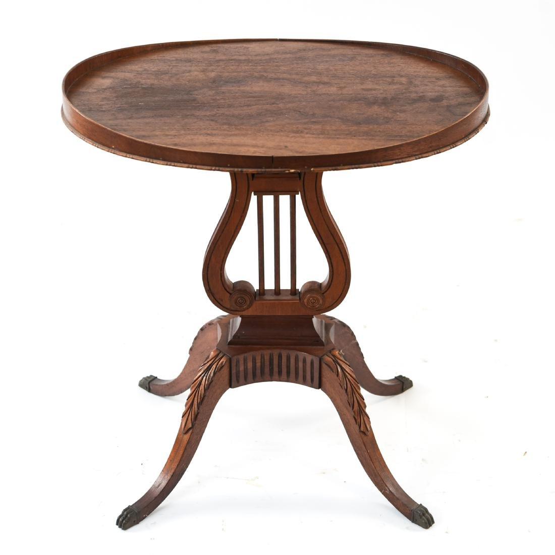 MAHOGANY LYRE BASE TABLE - 8
