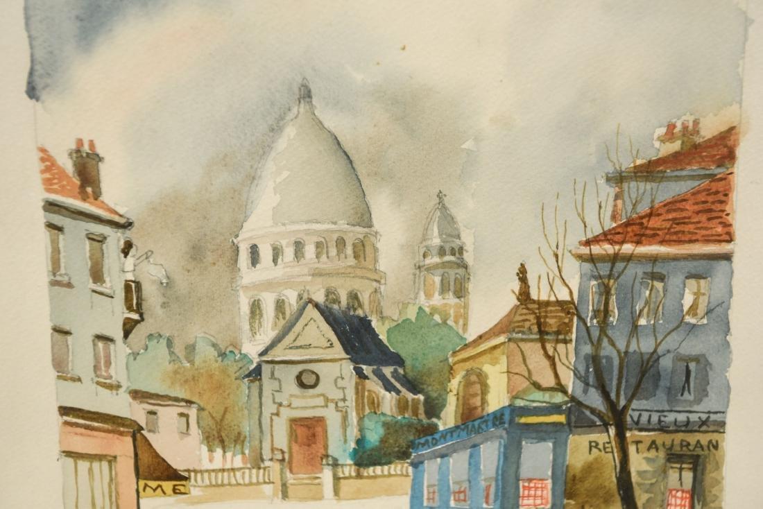 JEAN FOUS WATERCOLOR OF CHURCH/TOWN SCENE - 5