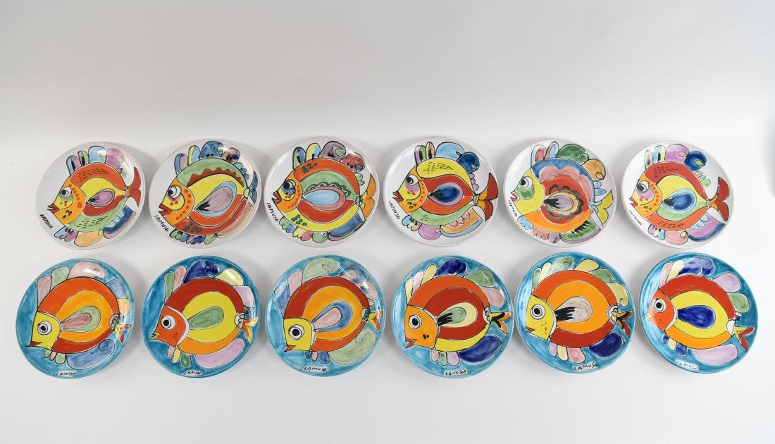 (12) ITALIAN CERAMIC LAMUSA PAINTED FISH PLATES