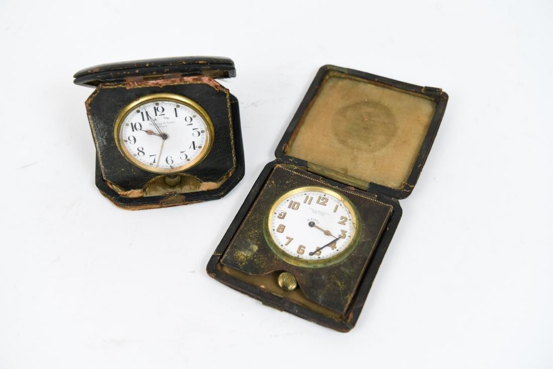 (2) ANTIQUE DESK POCKET WATCH TRAVELING CLOCKS