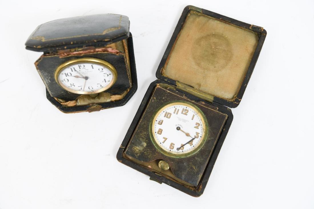 (2) ANTIQUE DESK POCKET WATCH TRAVELING CLOCKS - 2