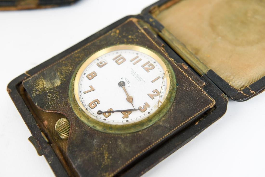 (2) ANTIQUE DESK POCKET WATCH TRAVELING CLOCKS - 4