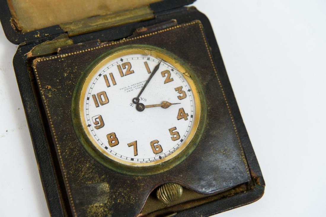 (2) ANTIQUE DESK POCKET WATCH TRAVELING CLOCKS - 5