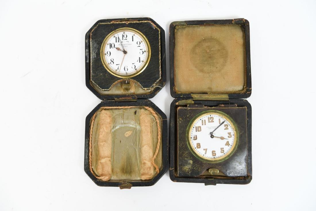 (2) ANTIQUE DESK POCKET WATCH TRAVELING CLOCKS - 6