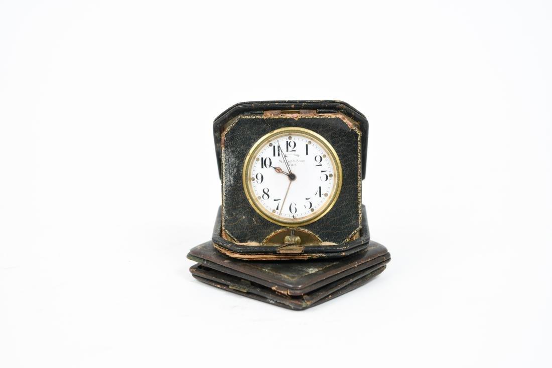 (2) ANTIQUE DESK POCKET WATCH TRAVELING CLOCKS - 8