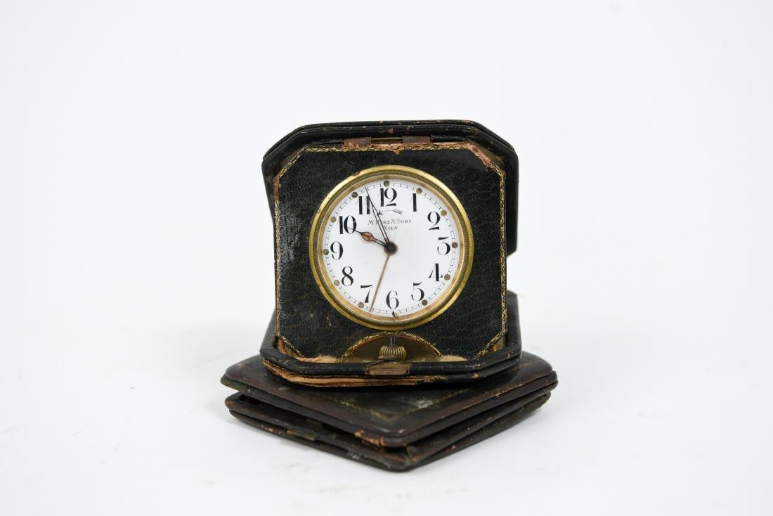 (2) ANTIQUE DESK POCKET WATCH TRAVELING CLOCKS - 9