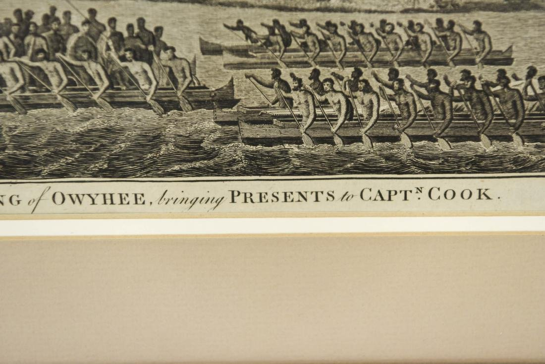 18TH C. BRITISH ENGRAVING HAWAIIAN CANOES - 4