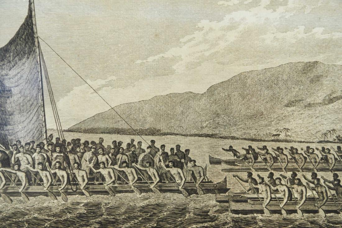 18TH C. BRITISH ENGRAVING HAWAIIAN CANOES - 5