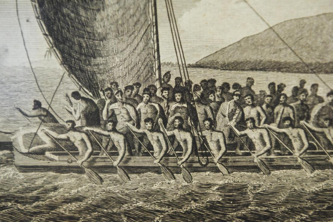18TH C. BRITISH ENGRAVING HAWAIIAN CANOES - 6