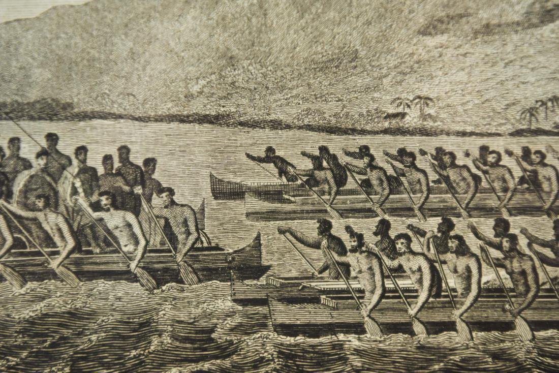 18TH C. BRITISH ENGRAVING HAWAIIAN CANOES - 7