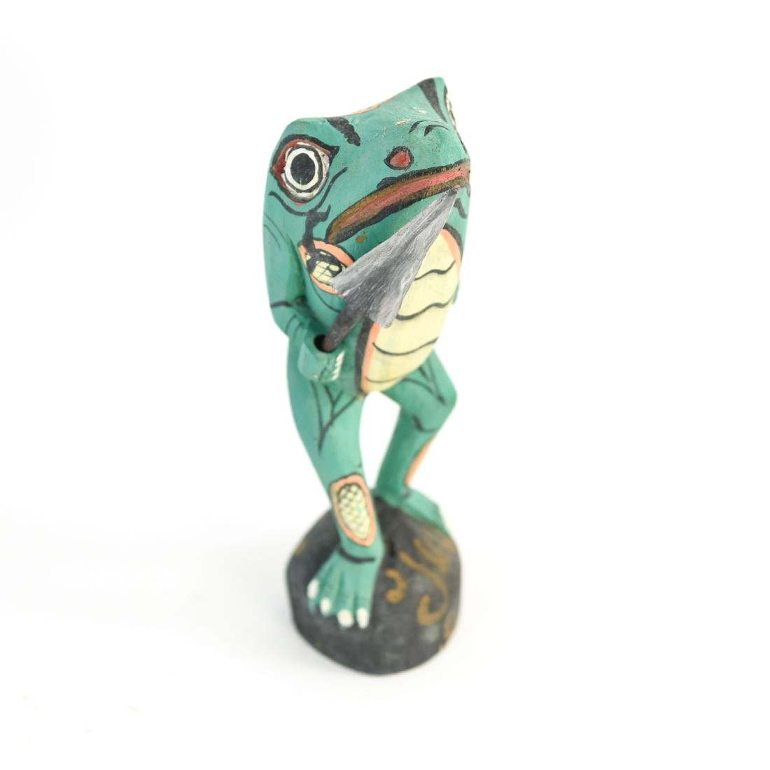 GROUPING OF FOLK ART WOODEN FROGS - 3