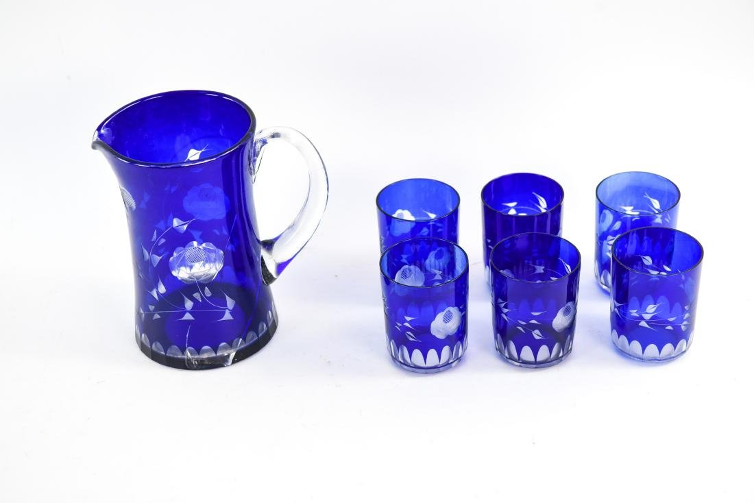 SET OF (6) BLUE ETCHED GLASSES & PITCHER