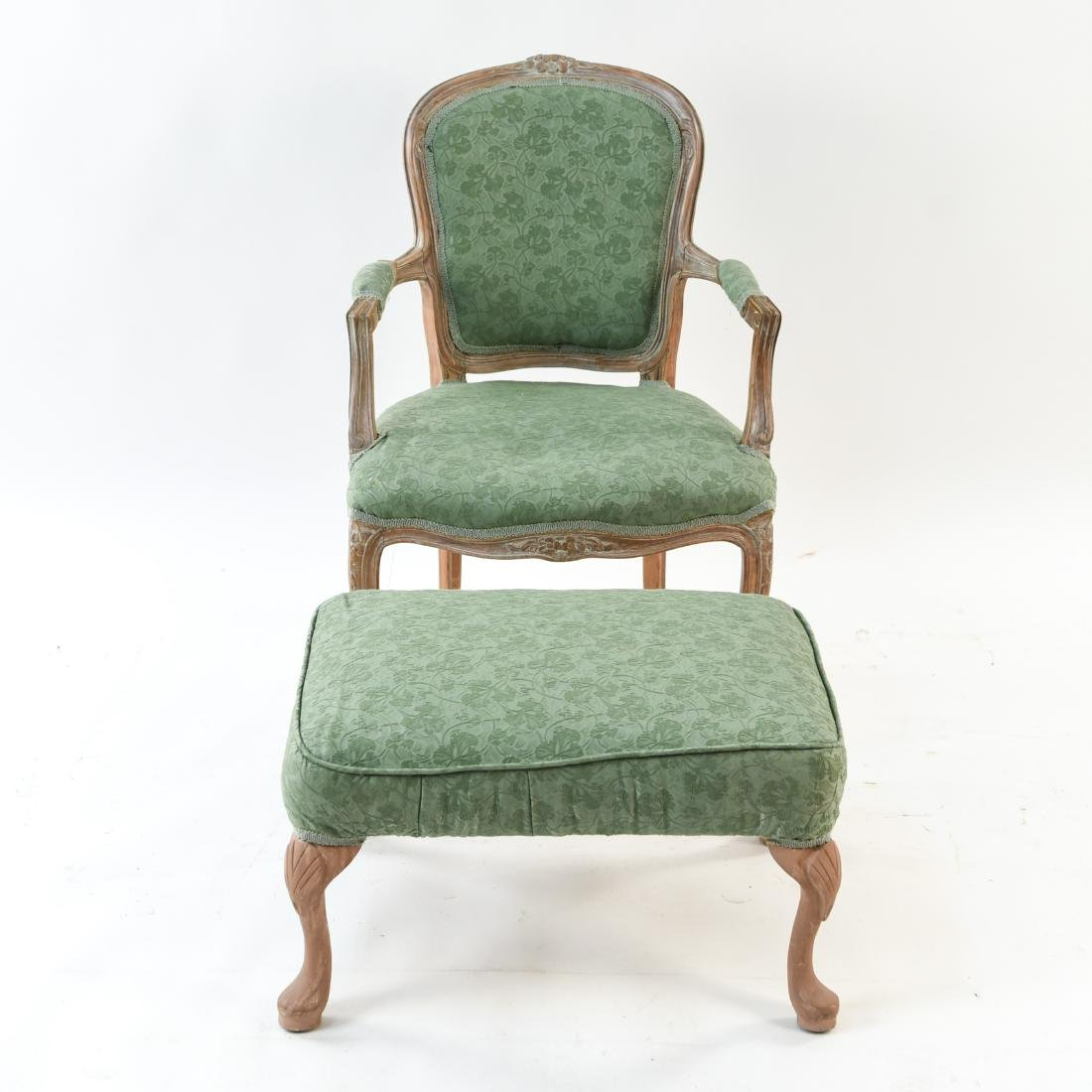 FRENCH STYLE FAUTEUIL CHAIR AND OTTOMAN