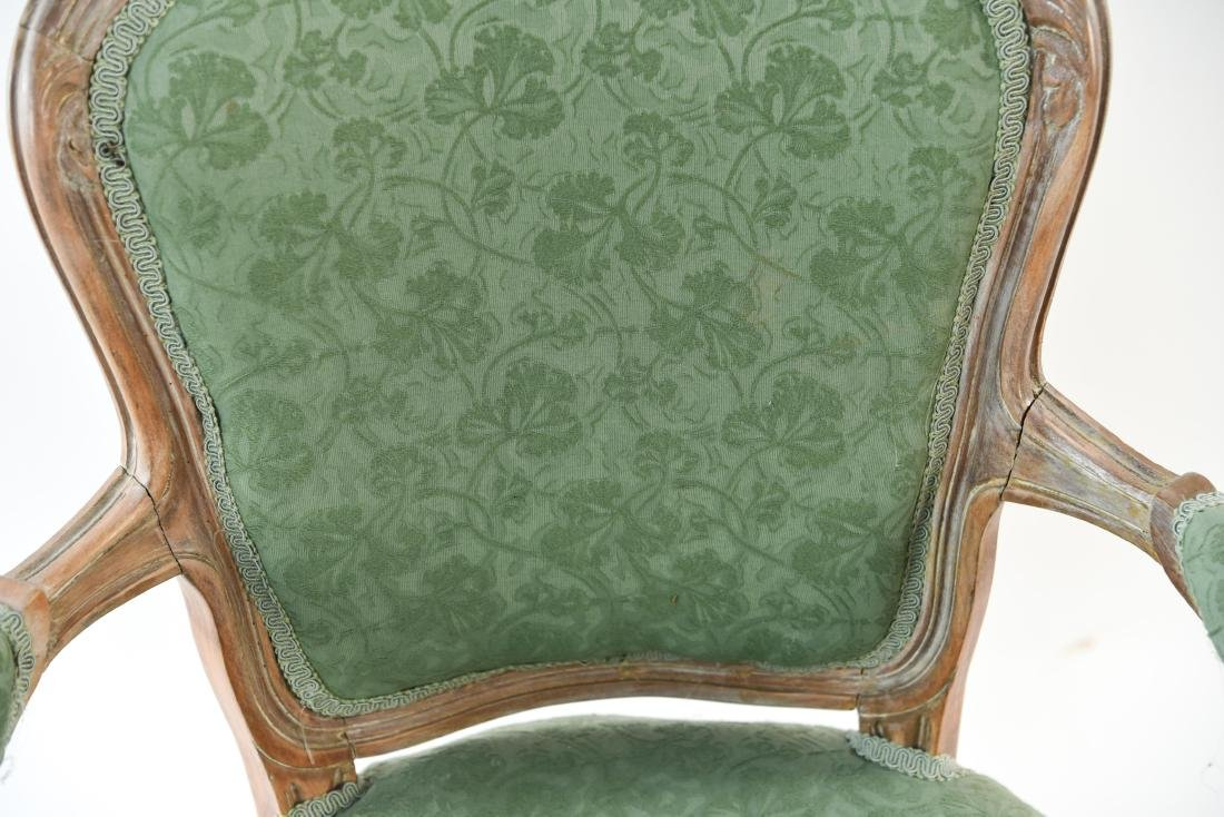 FRENCH STYLE FAUTEUIL CHAIR AND OTTOMAN - 7
