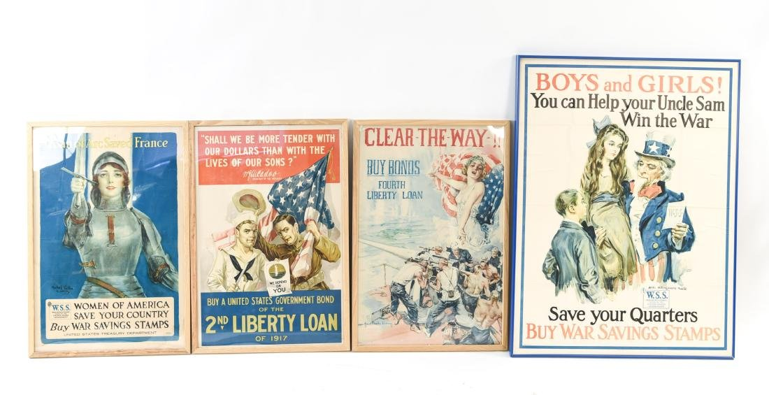 (4) WWI POSTERS LAID DOWN ON BOARD