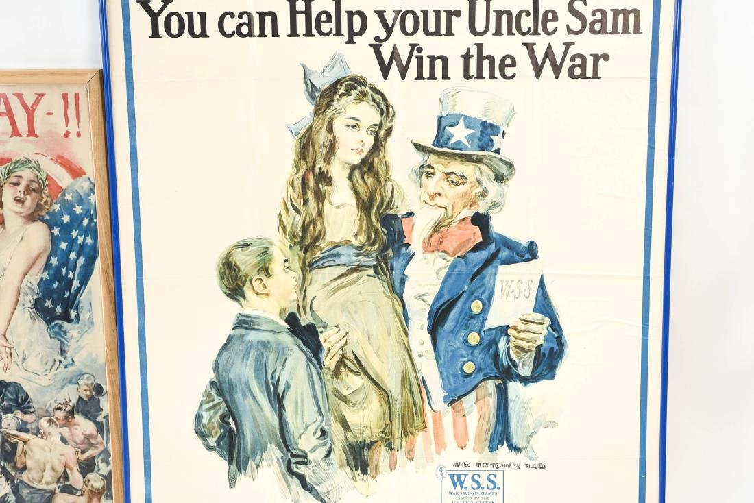 (4) WWI POSTERS LAID DOWN ON BOARD - 3