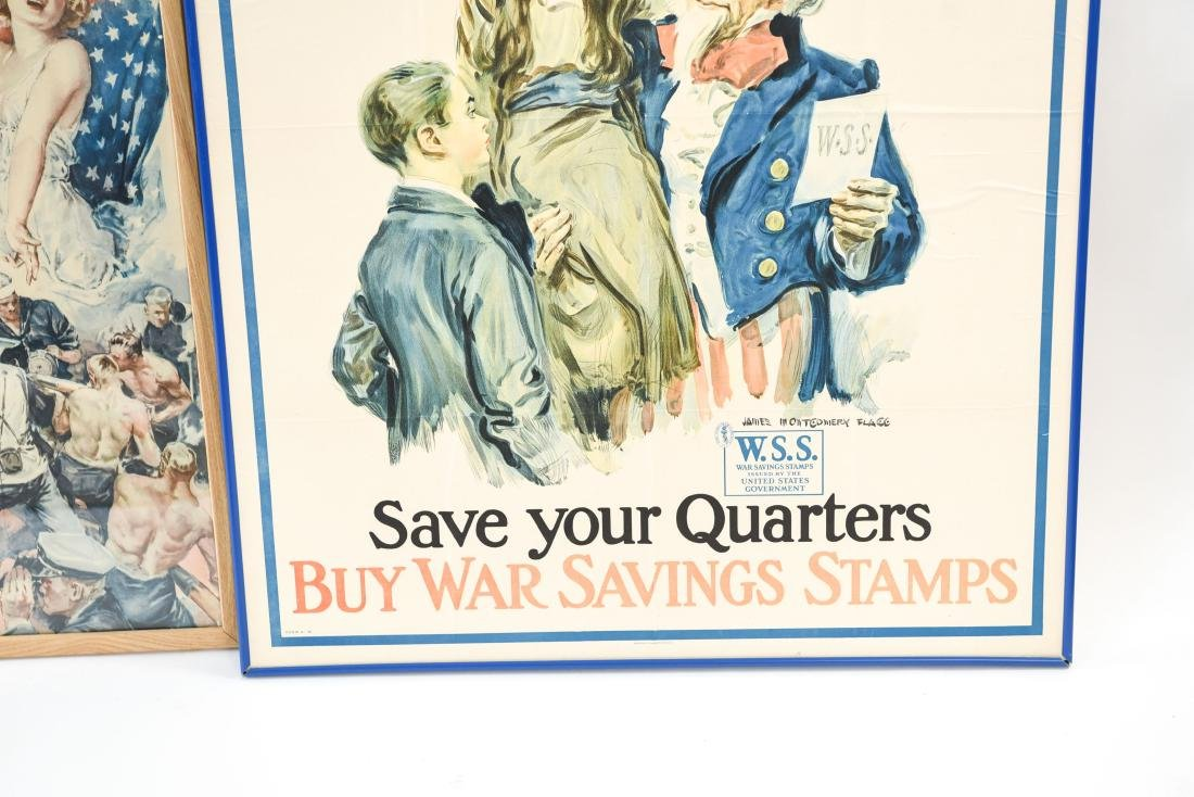 (4) WWI POSTERS LAID DOWN ON BOARD - 4
