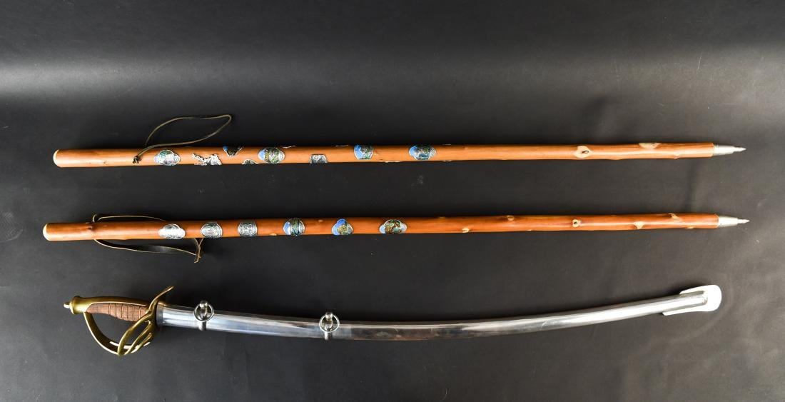 SOUVENIR WALKING STICK AND SWORD GROUPING