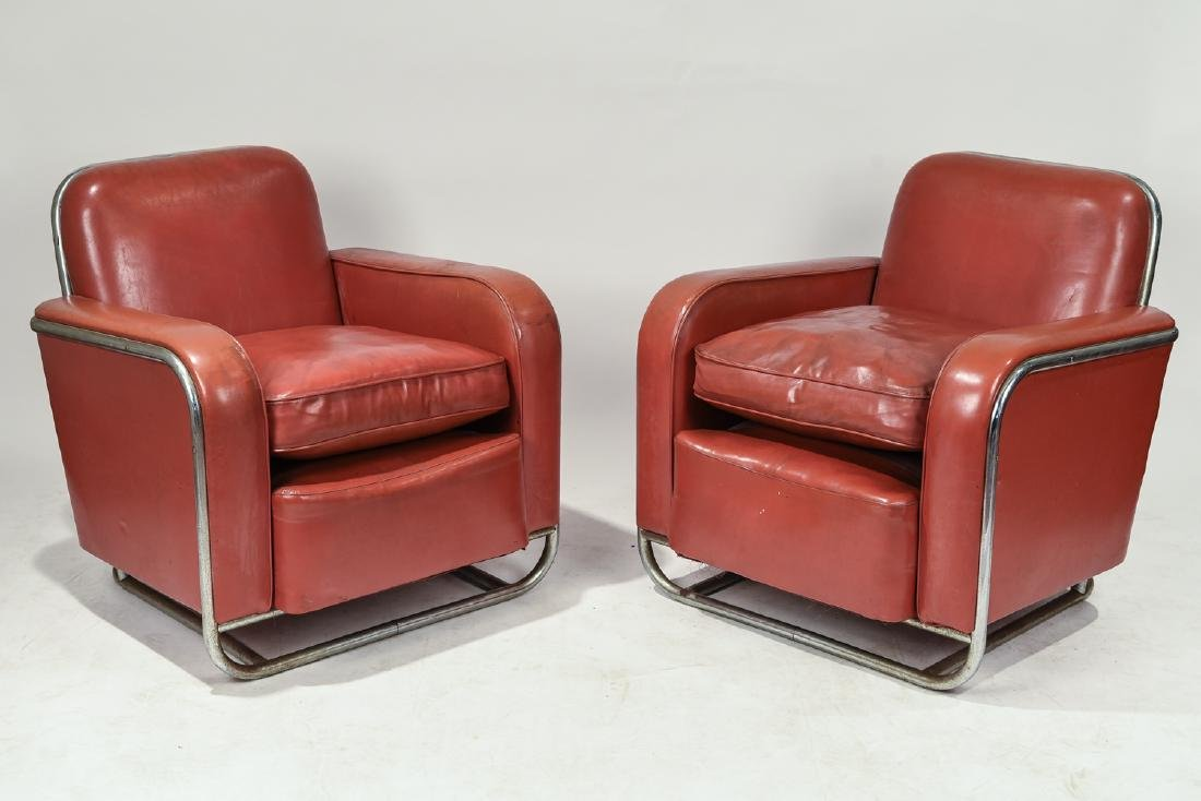 WOLFGANG HOFFMANN FOR HOWELL ART DECO CLUB CHAIRS