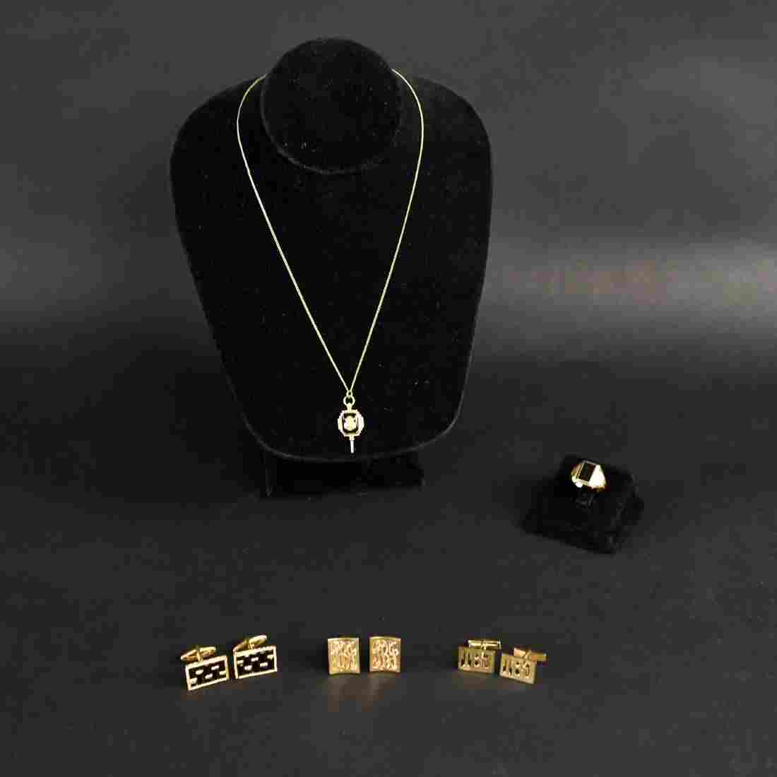 14K GOLD GROUPING INCL. RINGS AND CUFFLINKS
