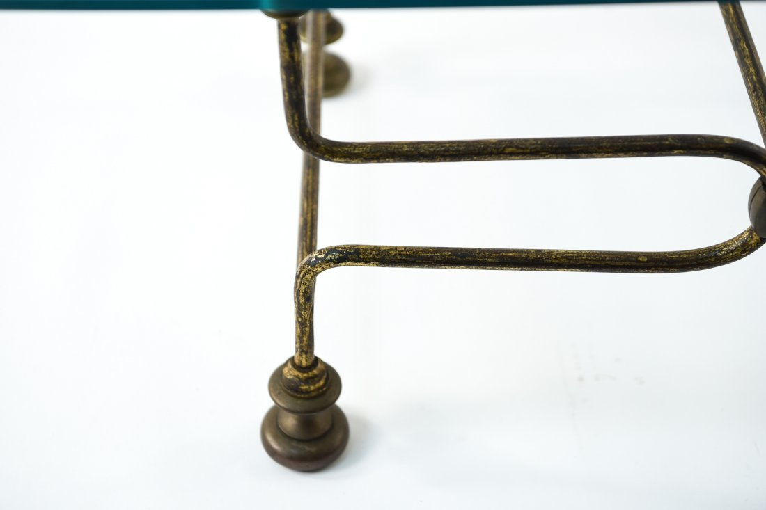 BRASS AND GLASS COFFEE TABLE - 4