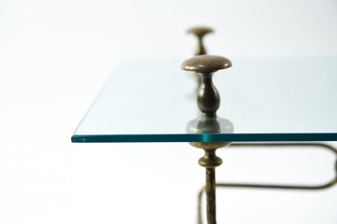 BRASS AND GLASS COFFEE TABLE - 5