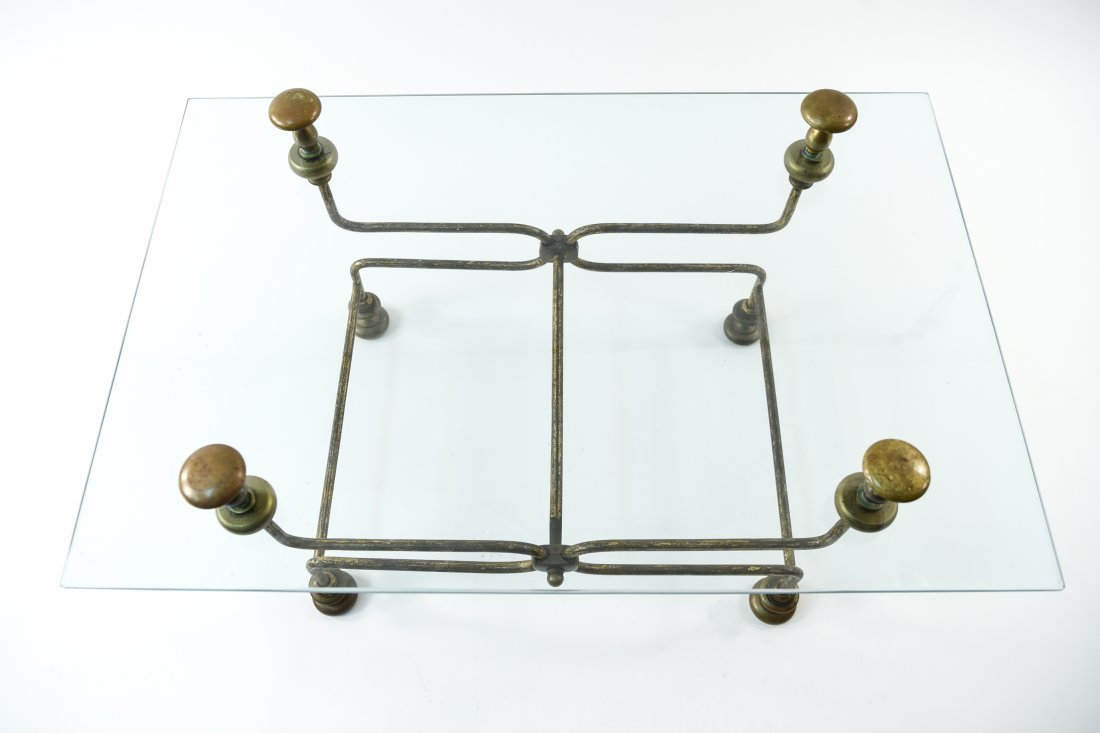 BRASS AND GLASS COFFEE TABLE - 6