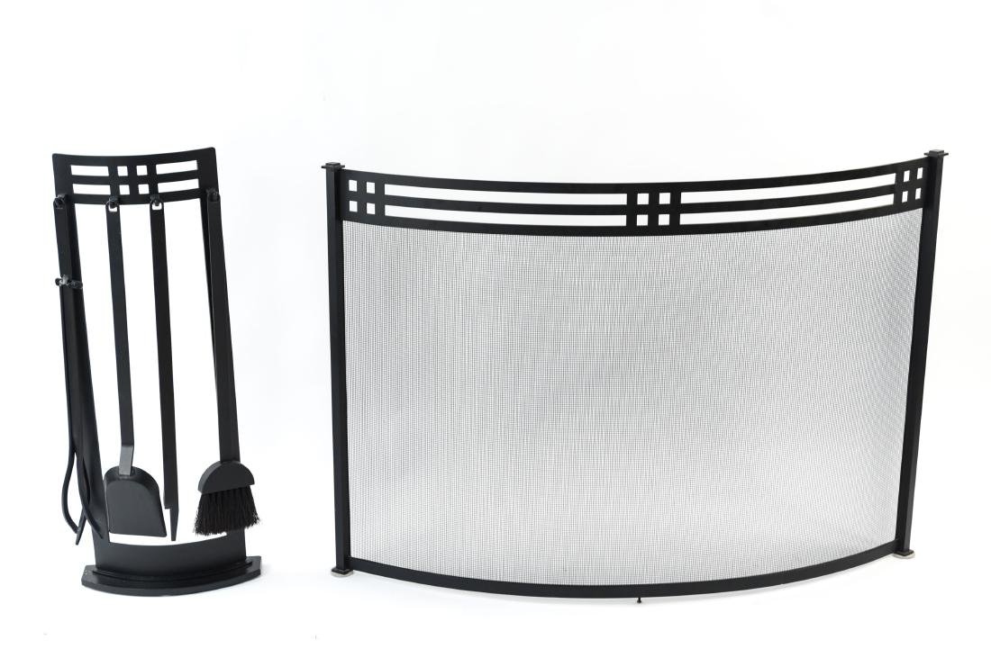 ART DECO STYLE FIRE SCREEN AND TOOLS