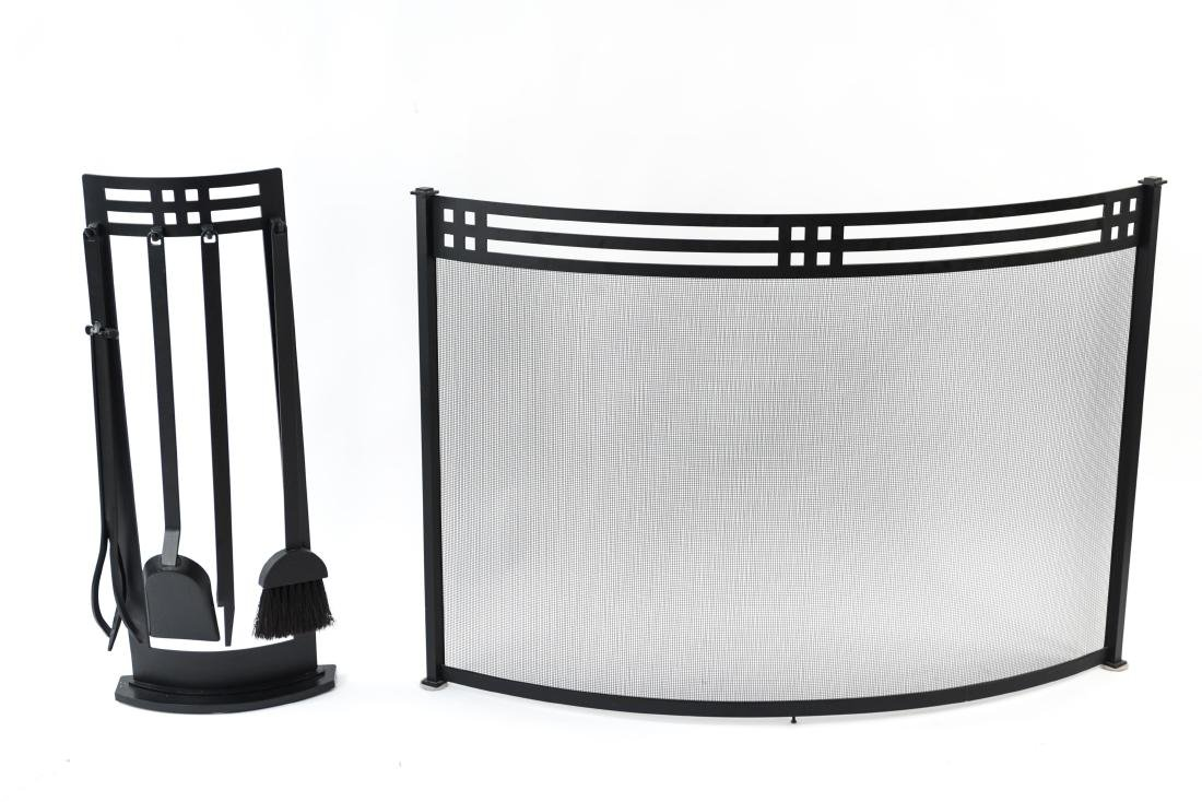 ART DECO STYLE FIRE SCREEN AND TOOLS - 2