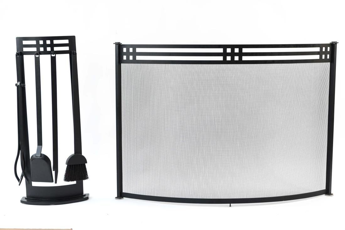 ART DECO STYLE FIRE SCREEN AND TOOLS - 3