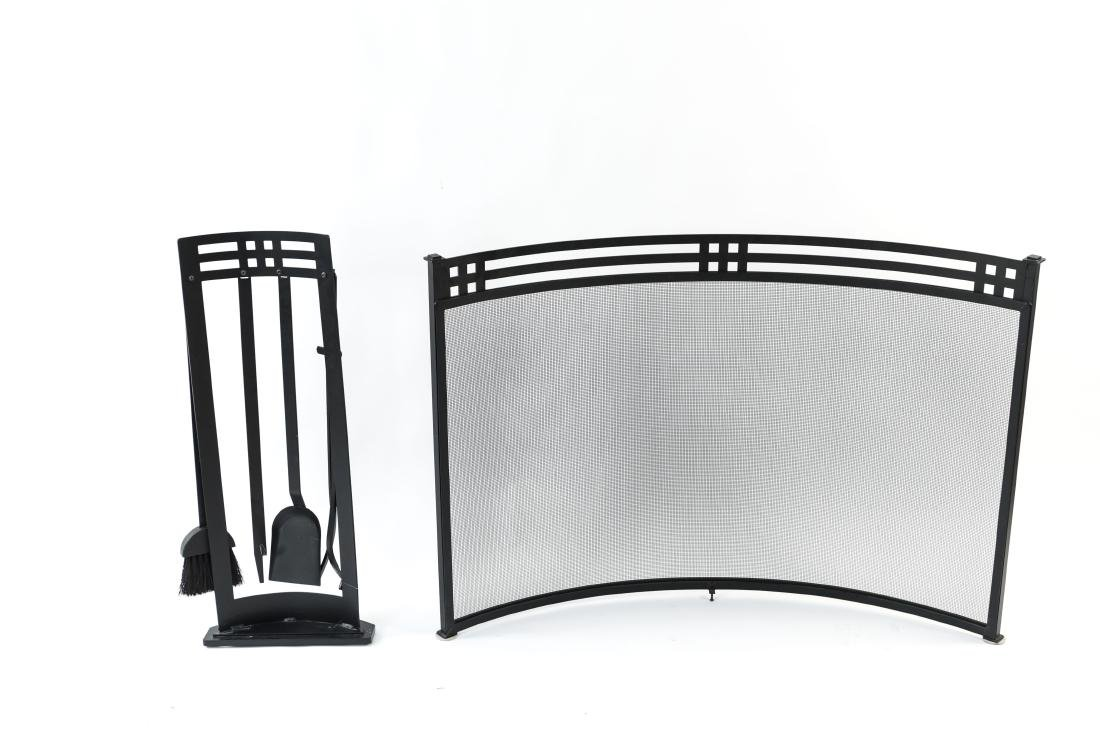 ART DECO STYLE FIRE SCREEN AND TOOLS - 9