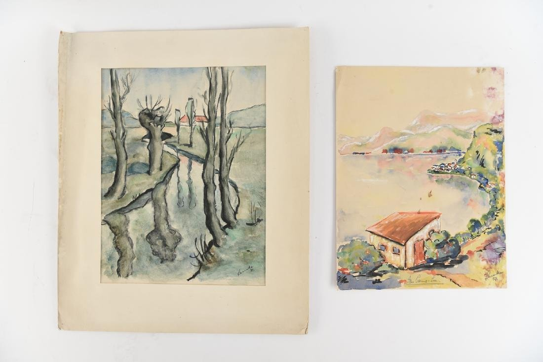 (2) SIGNED WATERCOLOR LANDSCAPES DATED 1939