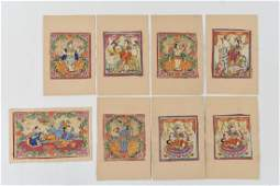 (8) INDIAN FOLK ART PAINTINGS 19TH/20TH C.