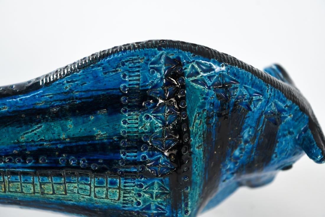 RAYMOR ITALIAN CERAMIC BULL IN RIMINI BLUE GLAZE - 9