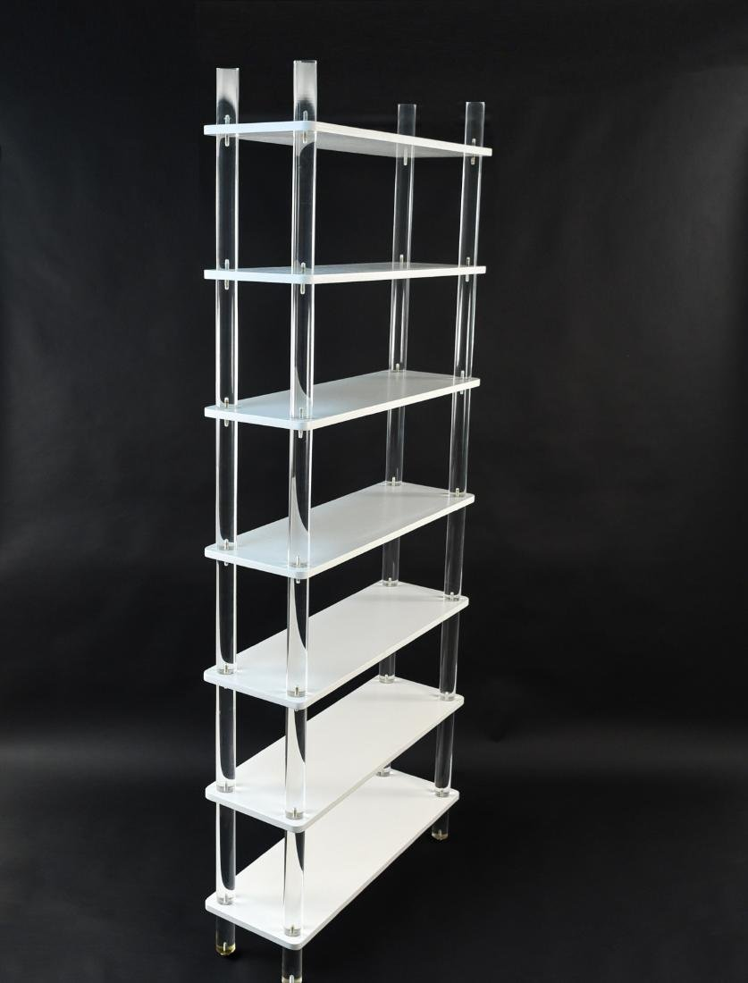 LUCITE & LACQUERED WOOD ETAGERE