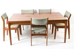 DANISH TEAK EXTENSION DINING TABLE W/ 5 CHAIRS