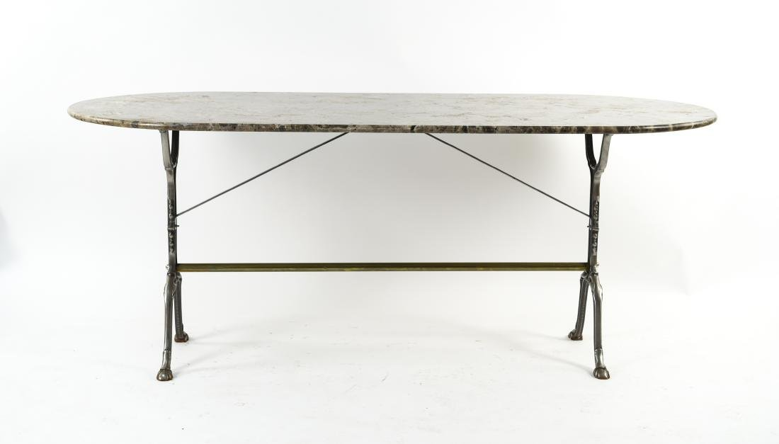 IRON AND MARBLE TOP CONSOLE TABLE - 2