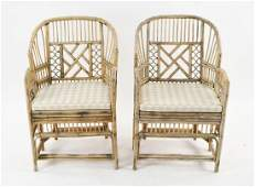 PAIR OF MODERN BAMBOO OUTDOOR CHAIRS