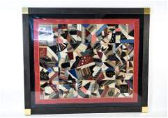 ANTIQUE FRAMED CRAZY QUILT