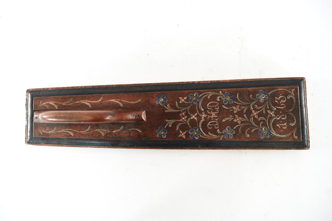 PAINT DECORATED ANTIQUE MANGLE BOARD 1863 - 2