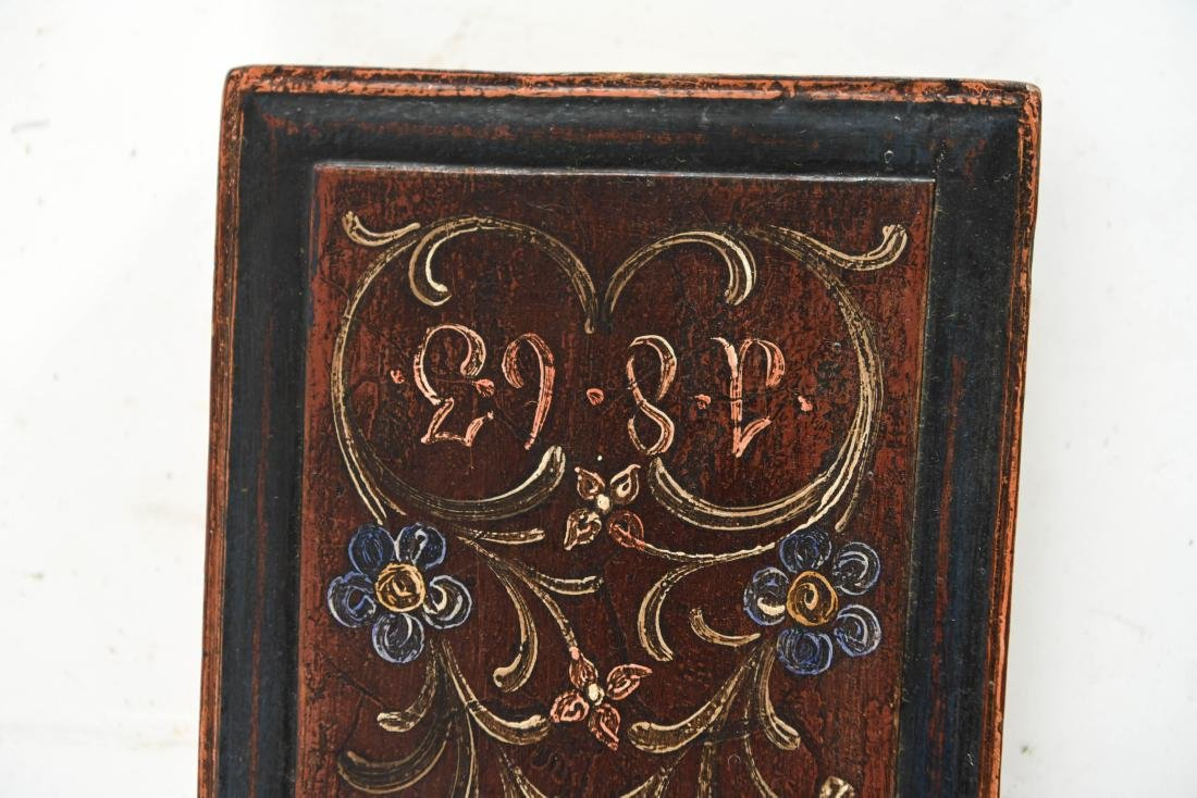 PAINT DECORATED ANTIQUE MANGLE BOARD 1863 - 4