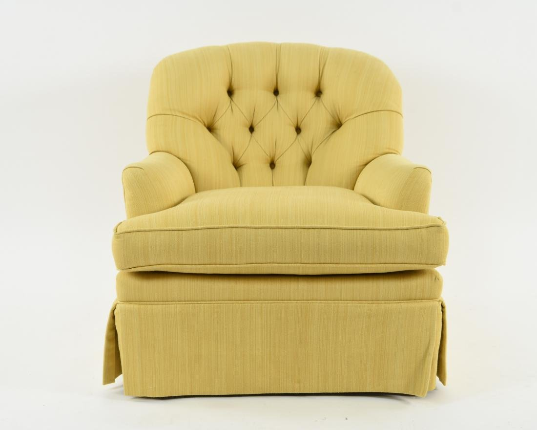 TUFTED YELLOW CLUB CHAIR