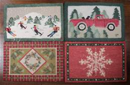 GROUP OF 4 20TH C HOOKED RUGS