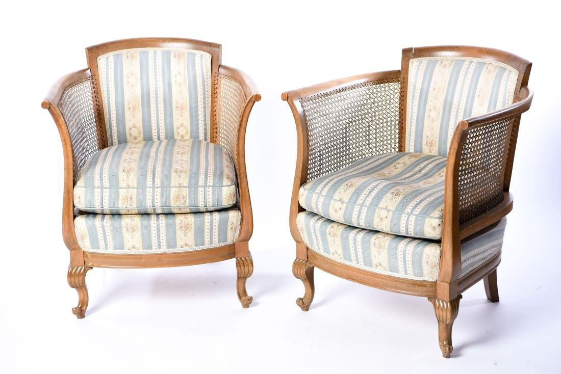 PAIR OF FRENCH CANED BERGERE CHAIRS - 14