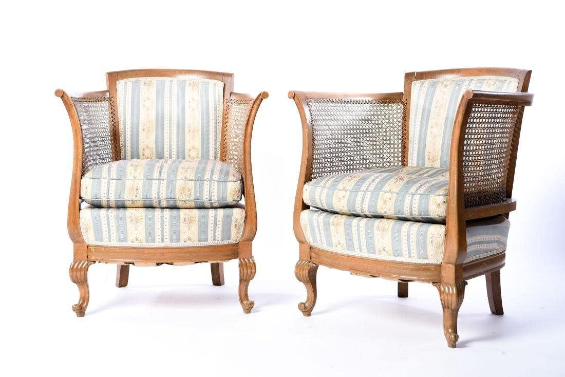 PAIR OF FRENCH CANED BERGERE CHAIRS