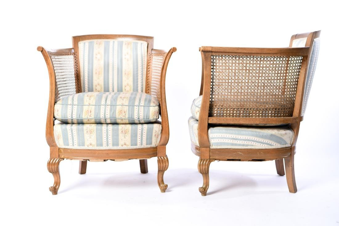 PAIR OF FRENCH CANED BERGERE CHAIRS - 2