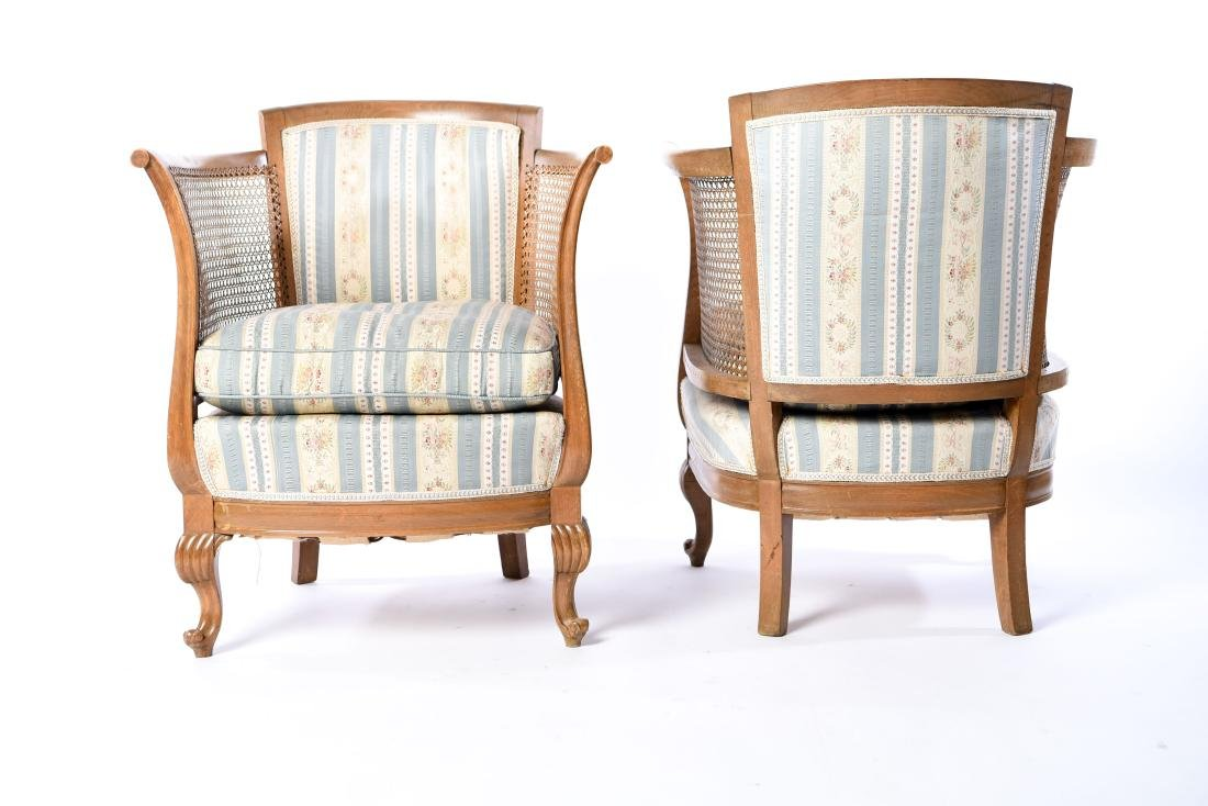 PAIR OF FRENCH CANED BERGERE CHAIRS - 3