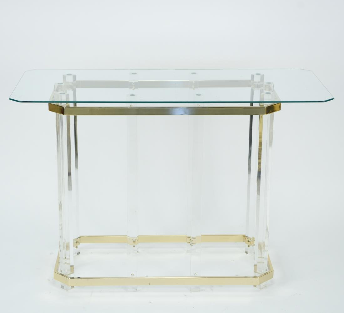HOLLIS STYLE LUCITE CONSOLE TABLE W/ GLASS TOP